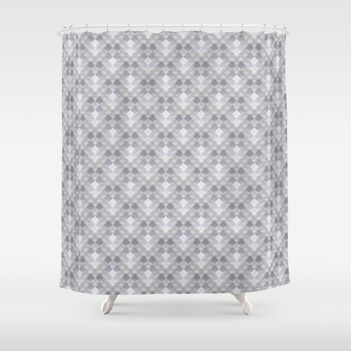 Grey And White Geometric Pattern Shower Curtain