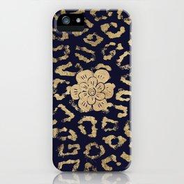 Modern navy blue faux gold hipster cheetah animal print iPhone Case
