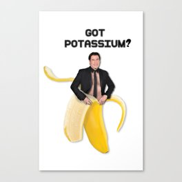John Travolta in a peeled banana Canvas Print