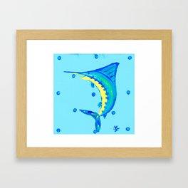 Whimsical Blue Marlin Framed Art Print