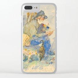 """Théophile Steinlen  """"Autoportrait aux chats"""" Clear iPhone Case"""