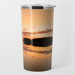Beautiful sunset - glowing orange - forest silhouette and reflection Travel Mug
