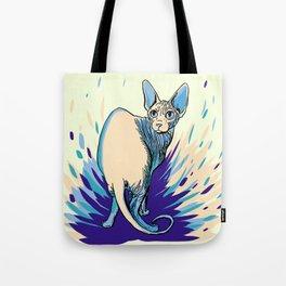 Sphynx Cat - Blue Purple Vanilla - Cat Lover Tote Bag