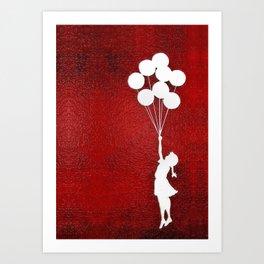 Banksy the balloons Girls silhouette Art Print