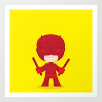 daredevil Art Prints featuring Daredevil by Wish Me Monsters