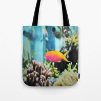the life aquatic Tote Bags featuring Life Aquatic by JustAlly