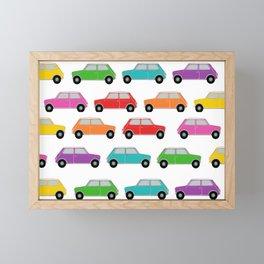 Vintage Mini Cars in rainbow colors Framed Mini Art Print