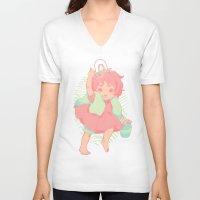 ponyo V-neck T-shirts featuring Ponyo by Lu Nascimento