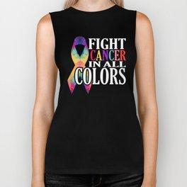Fight Cancer In All Colors Support Cancer Awareness  Biker Tank