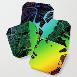 Jersey City, NJ, USA, City, Map, Rainbow, Map, Art, Print Coaster