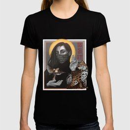 Resist girl icon with Asian leopard cat and sparrow with gun and grenade  T-shirt