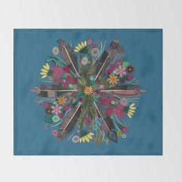 bohemian posy blue Throw Blanket