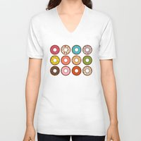 donuts V-neck T-shirts featuring Donuts by TinyBee