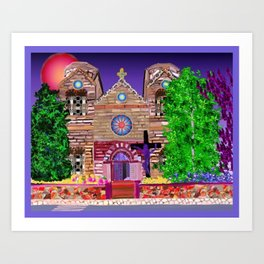 jesus painted purple Art Print