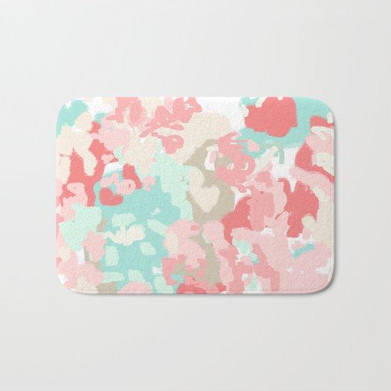 Florence - abstract trendy colors gender neutral seaside coral tropical minimal mermaids Bath Mat