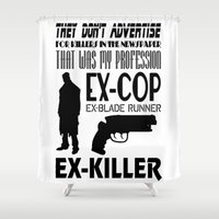 blade runner Shower Curtains featuring Quote Blade Runner by AngoldArts