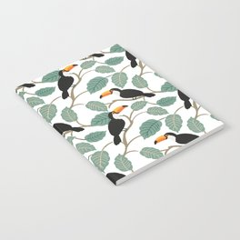 Toucan birds and palm leaves in the jungle Notebook