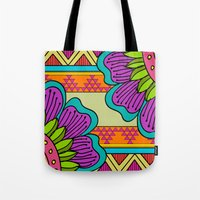 hippy Tote Bags featuring Hippy tribal by Pooja Jeshang