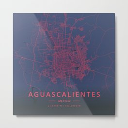 Aguascalientes, Mexico - Neon Metal Print