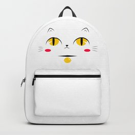 Minimalist white cat with golden eyes Backpack