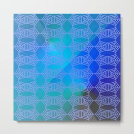 Pattern by spider web blue ... Metal Print
