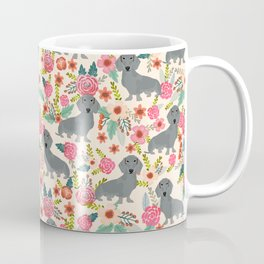 Dachshund florals grey doxie dachsie pattern with flowers cute gifts for wiener dog owners Coffee Mug