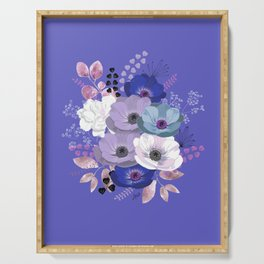 Anemones & Gardenia Blue bouquet Serving Tray