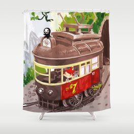 Travel By Trolly Shower Curtain
