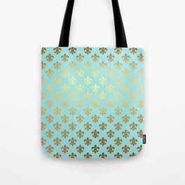 Royal gold ornaments on aqua turquoise background Tote Bag