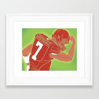 49ers Framed Art Prints featuring 49ers Colin Kaepernick by Courtney Charlton