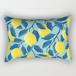Vintage yellow lemon on the branches with leaves and blue sky hand drawn illustration pattern Rectangular Pillow