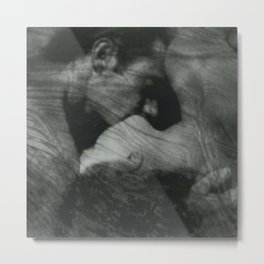 1912, The Kiss, Lovers black and white photography by Anne Brigmann Metal Print