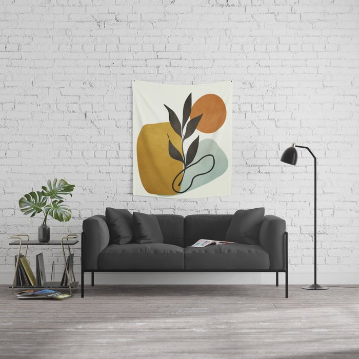 Soft Abstract Small Leaf Wall Tapestry