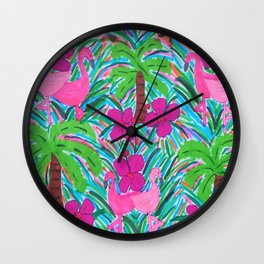 Beach Party with Palms and Flamingos Wall Clock
