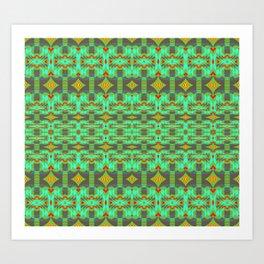 Vintage Psychedelic Kitsch Pattern Green Art Print