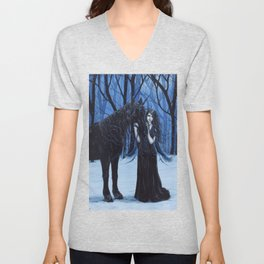 Midnight Travelers Gothic Fairy and Unicorn Unisex V-Neck