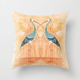 An Exotic Stork Throw Pillow
