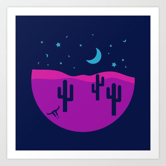 Modern Desert Cactus Scene #desert #cactus Art Print