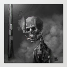 Noir Skeleton Digital Illustration Canvas Print
