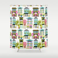 karen hallion Shower Curtains featuring Boutiques and Downtown Buildings by Karen Fields by Karen Fields Design