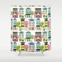 karen Shower Curtains featuring Boutiques and Downtown Buildings by Karen Fields by Karen Fields Design