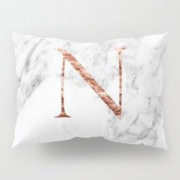 Monogram rose gold marble N Pillow Sham