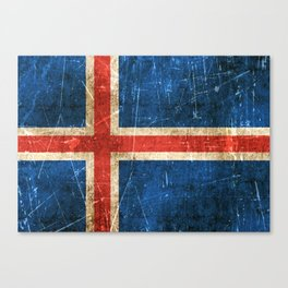 Vintage Aged and Scratched Icelandic Flag Canvas Print