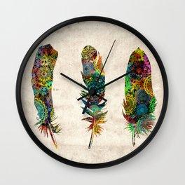 mandala vintage feathers Wall Clock