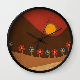 Circular landscape & flowers Wall Clock