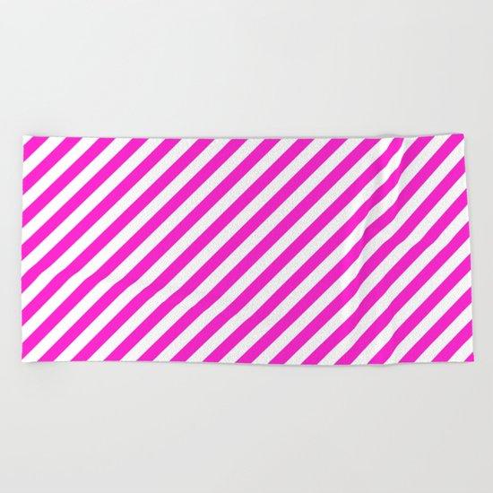 Diagonal Stripes (Hot Magenta/White) Beach Towel