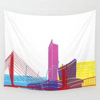 manchester Wall Tapestries featuring Manchester skyline pop by Paulrommer