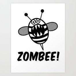 Funny Zombee, Zombie Tee-shirt, Bee T-Shirt Art Print