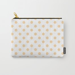 Small Polka Dots - Sunset Orange on White Carry-All Pouch
