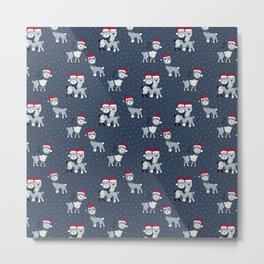 Christmas Alpaca friends and santa hats kids pattern blue navy Metal Print